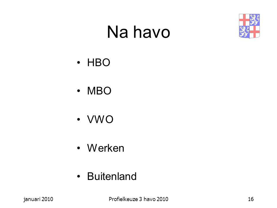 januari 2010Profielkeuze 3 havo 201016 Na havo HBO MBO VWO Werken Buitenland