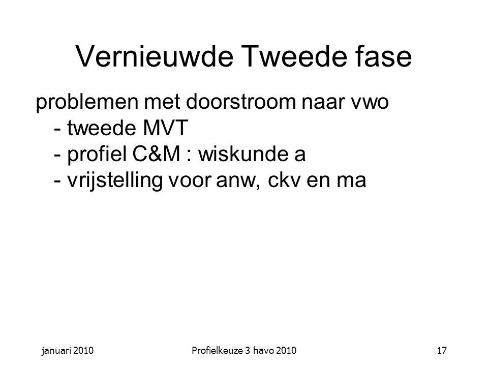 januari 2010Profielkeuze 3 havo 201017 Vernieuwde Tweede fase problemen met doorstroom naar vwo - tweede MVT - profiel C&M : wiskunde a - vrijstelling