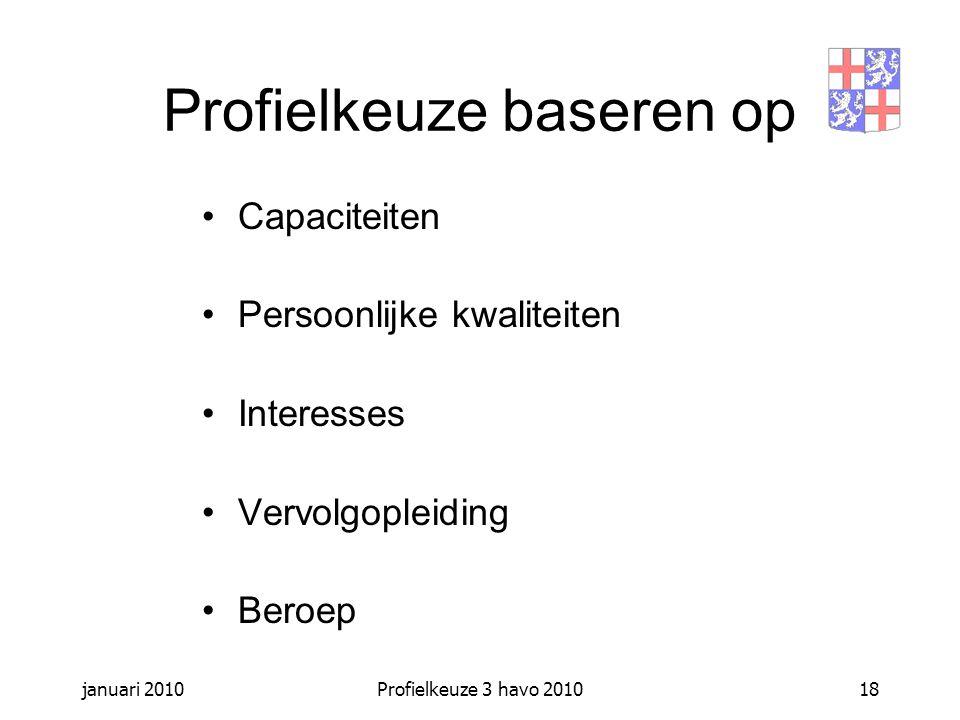 januari 2010Profielkeuze 3 havo 201018 Profielkeuze baseren op Capaciteiten Persoonlijke kwaliteiten Interesses Vervolgopleiding Beroep