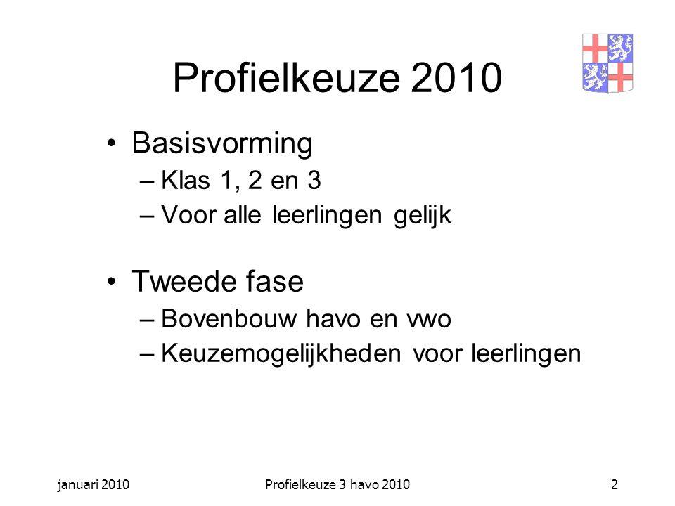 januari 2010Profielkeuze 3 havo 20102 Basisvorming –Klas 1, 2 en 3 –Voor alle leerlingen gelijk Tweede fase –Bovenbouw havo en vwo –Keuzemogelijkheden