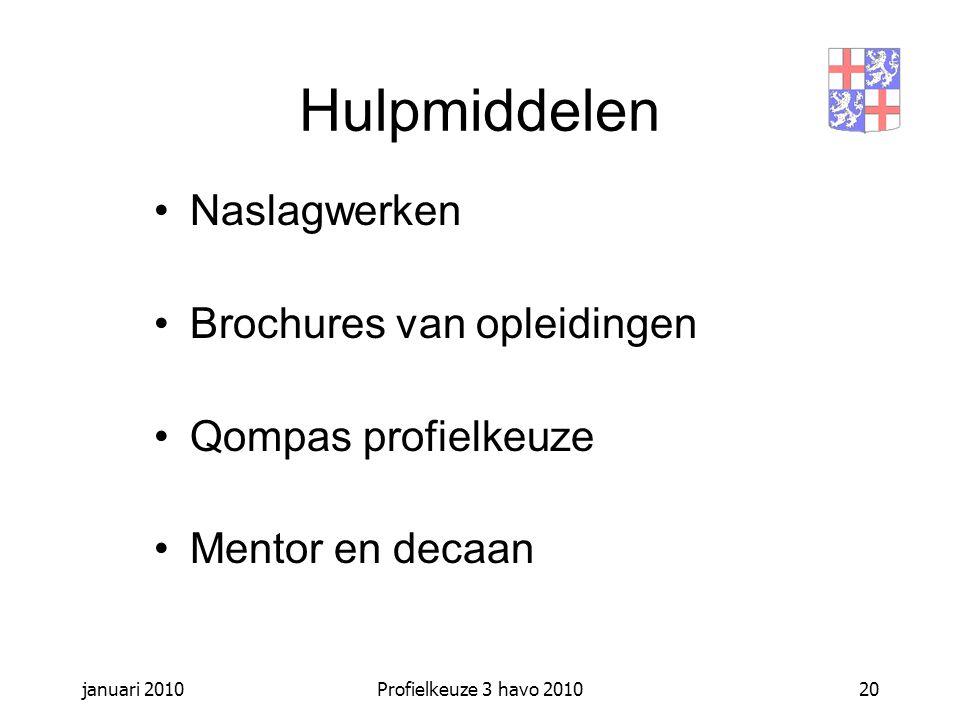 januari 2010Profielkeuze 3 havo 201020 Hulpmiddelen Naslagwerken Brochures van opleidingen Qompas profielkeuze Mentor en decaan