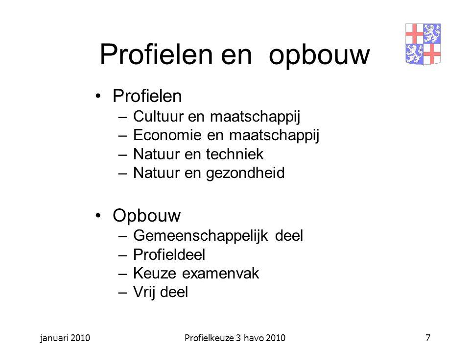 januari 2010Profielkeuze 3 havo 20108 Gemeenschappelijk deel Nederlands Engels maatschappijleer CKV lichamelijke opvoeding