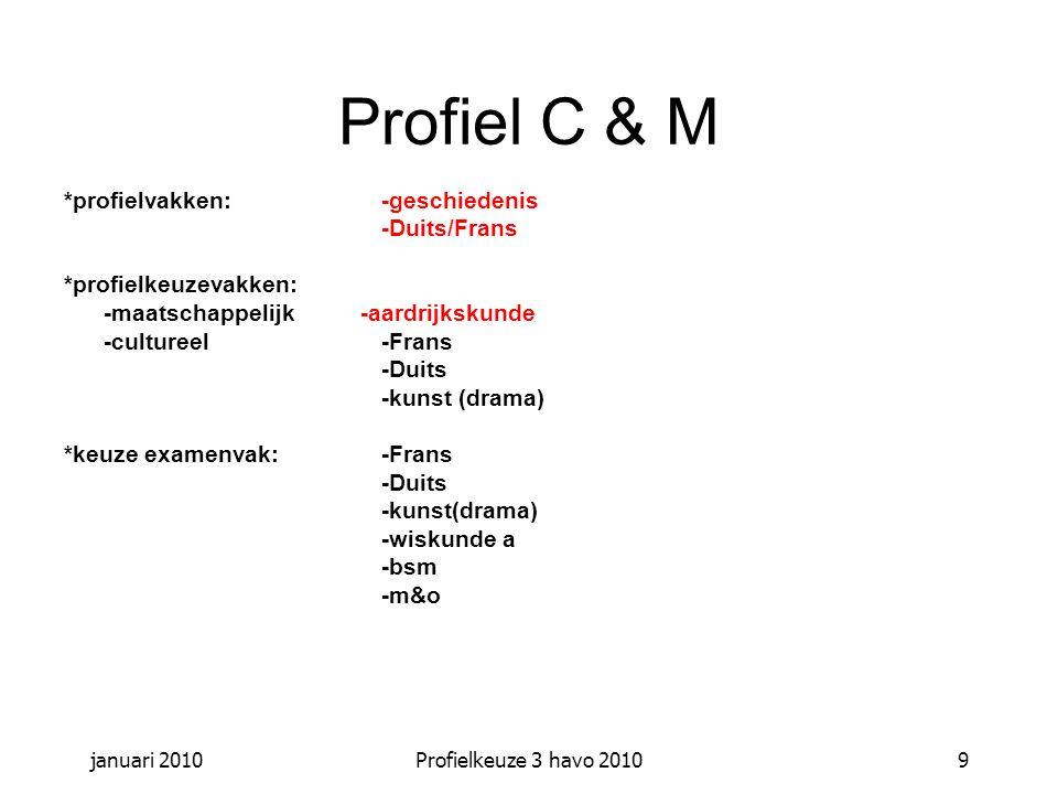januari 2010Profielkeuze 3 havo 20109 Profiel C & M *profielvakken: -geschiedenis -Duits/Frans *profielkeuzevakken: -maatschappelijk -aardrijkskunde -