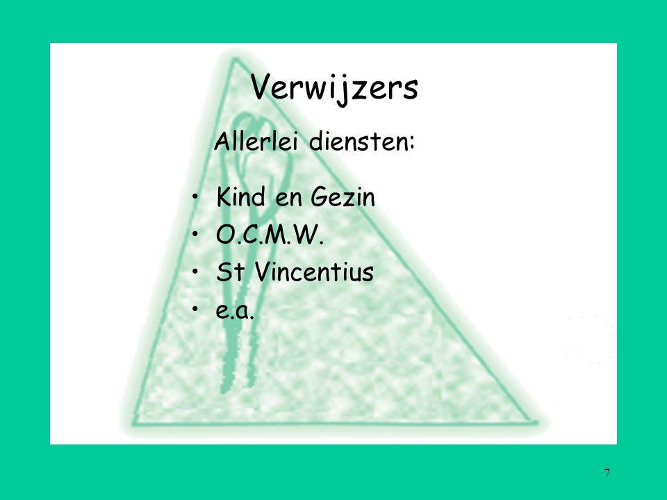 7 Verwijzers Kind en Gezin O.C.M.W. St Vincentius e.a. Allerlei diensten: