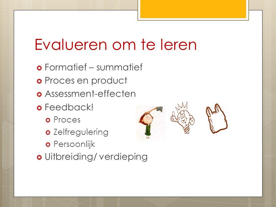 Evalueren om te leren  Formatief – summatief  Proces en product  Assessment-effecten  Feedback!  Proces  Zelfregulering  Persoonlijk  Uitbreid
