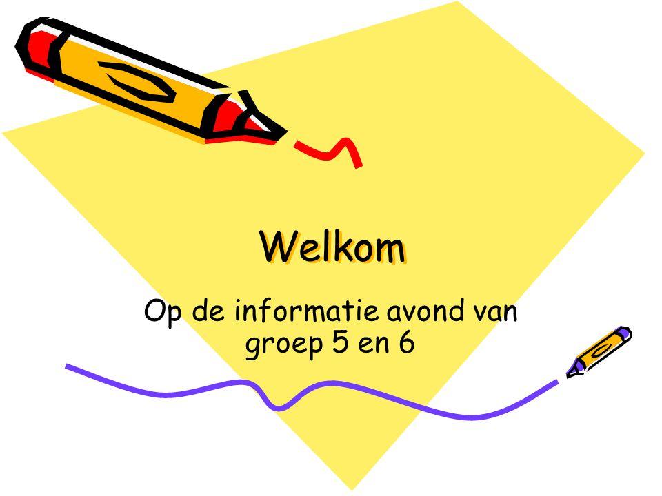Welkom Op de informatie avond van groep 5 en 6