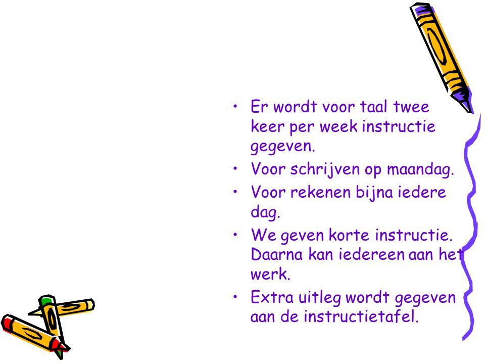 Er wordt voor taal twee keer per week instructie gegeven.