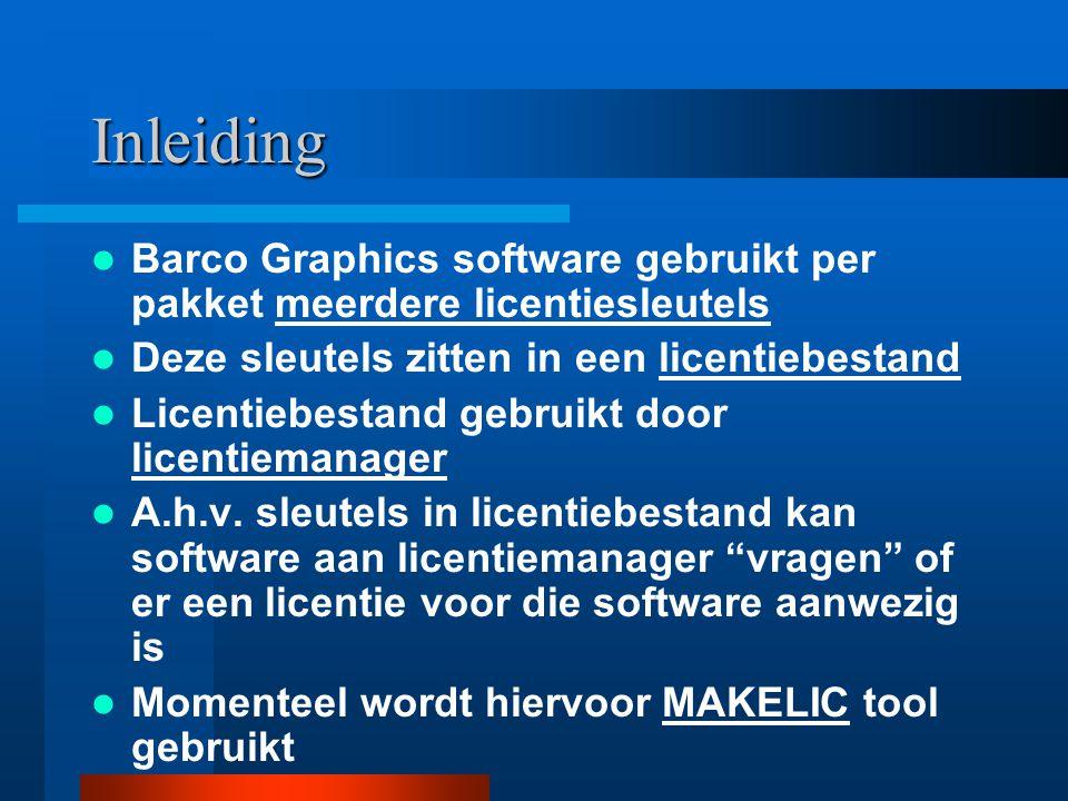 Inleiding Barco Graphics software gebruikt per pakket meerdere licentiesleutels Deze sleutels zitten in een licentiebestand Licentiebestand gebruikt d