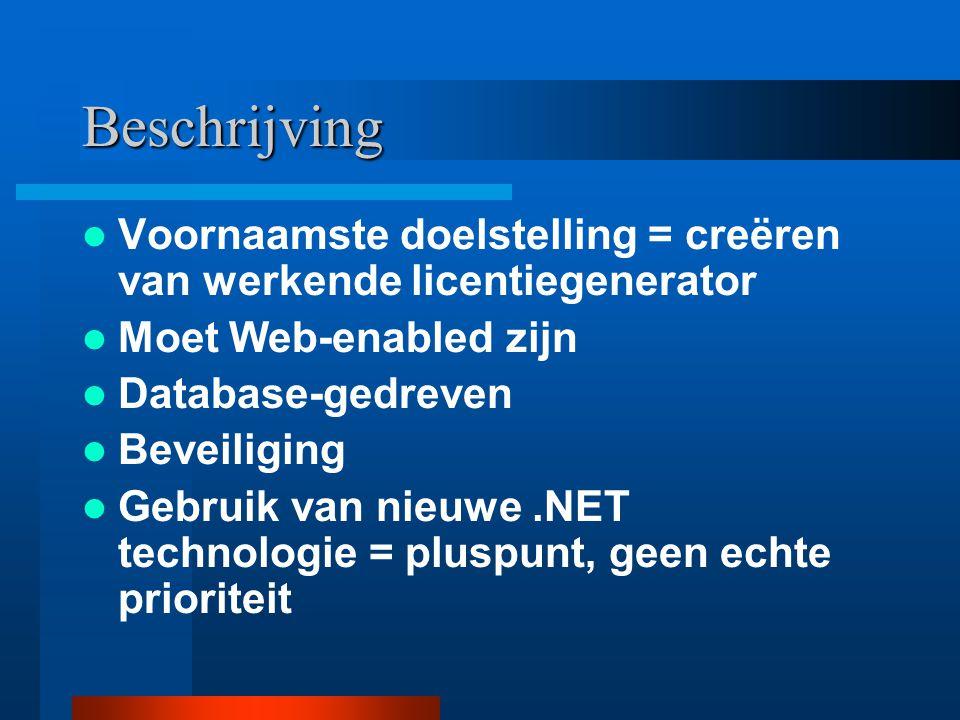 Beschrijving Voornaamste doelstelling = creëren van werkende licentiegenerator Moet Web-enabled zijn Database-gedreven Beveiliging Gebruik van nieuwe.