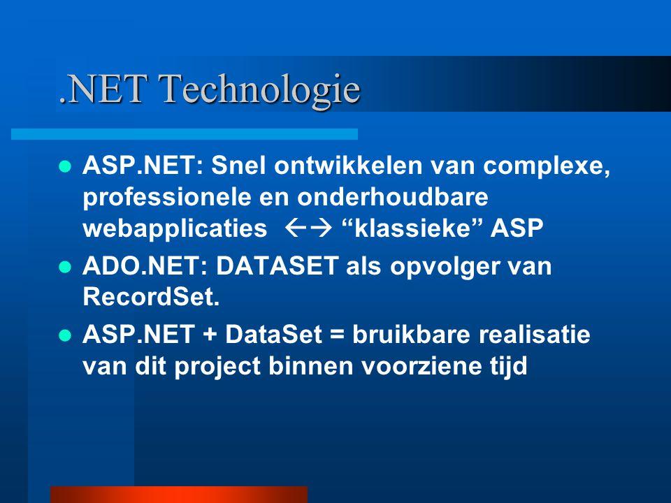 """.NET Technologie ASP.NET: Snel ontwikkelen van complexe, professionele en onderhoudbare webapplicaties  """"klassieke"""" ASP ADO.NET: DATASET als opvolge"""