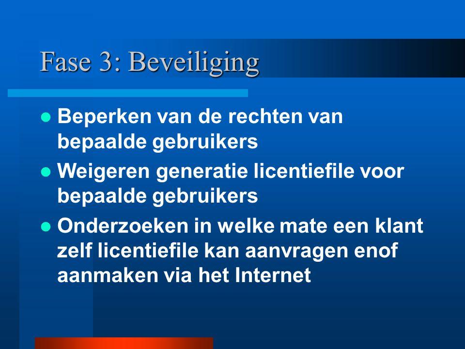 Fase 3: Beveiliging Beperken van de rechten van bepaalde gebruikers Weigeren generatie licentiefile voor bepaalde gebruikers Onderzoeken in welke mate