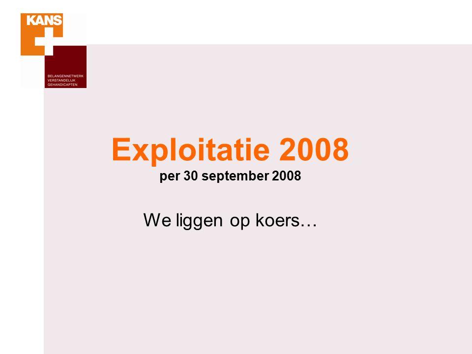 Exploitatie 2008 per 30 september 2008 We liggen op koers…