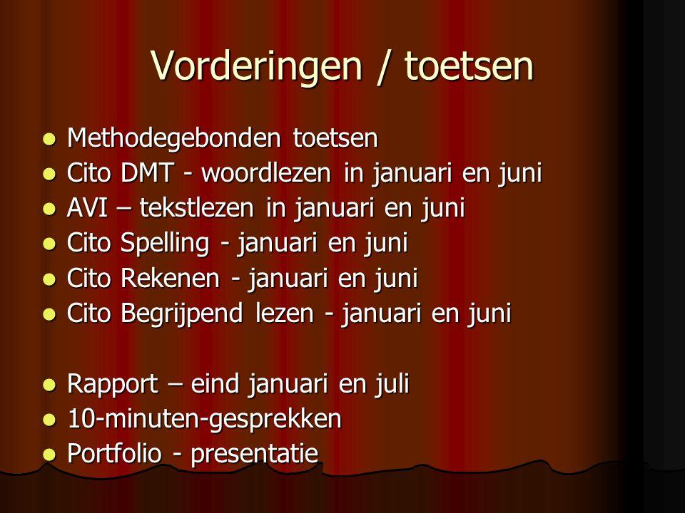 Vorderingen / toetsen Methodegebonden toetsen Methodegebonden toetsen Cito DMT - woordlezen in januari en juni Cito DMT - woordlezen in januari en juni AVI – tekstlezen in januari en juni AVI – tekstlezen in januari en juni Cito Spelling - januari en juni Cito Spelling - januari en juni Cito Rekenen - januari en juni Cito Rekenen - januari en juni Cito Begrijpend lezen - januari en juni Cito Begrijpend lezen - januari en juni Rapport – eind januari en juli Rapport – eind januari en juli 10-minuten-gesprekken 10-minuten-gesprekken Portfolio - presentatie Portfolio - presentatie