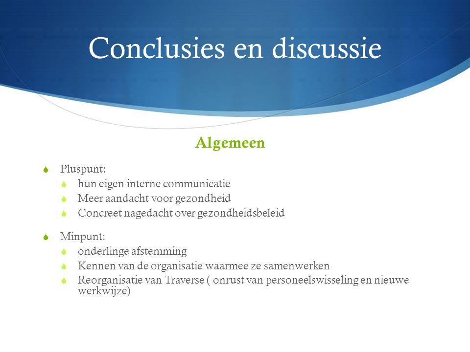 Conclusies en discussie Gezondheidstoestand cliënten  Respons verpleegkundig spreekuur  Gezondheidsproblemen  Reguliere gezondheidszorg  Verschillen in gezondheidstoestand  Bevorderende en belemmerende factoren