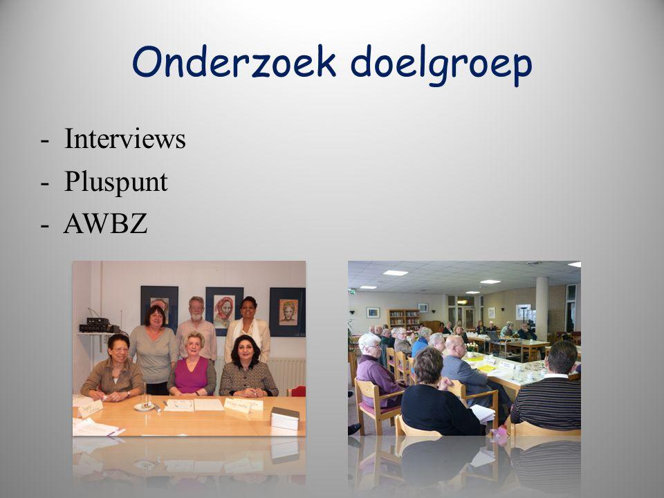 Onderzoek doelgroep - Interviews - Pluspunt - AWBZ