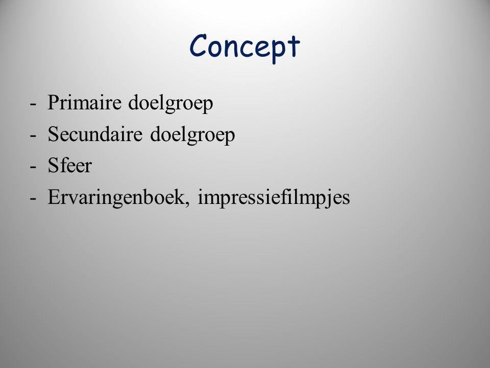 Concept - Primaire doelgroep - Secundaire doelgroep - Sfeer - Ervaringenboek, impressiefilmpjes