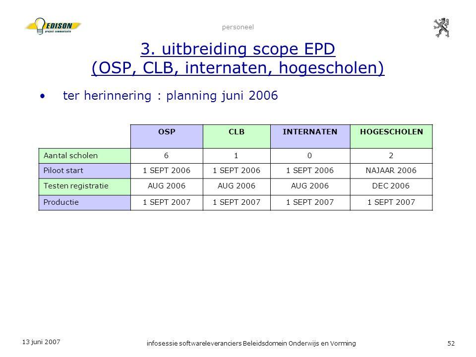13 juni 2007 infosessie softwareleveranciers Beleidsdomein Onderwijs en Vorming52 personeel 3. uitbreiding scope EPD (OSP, CLB, internaten, hogeschole