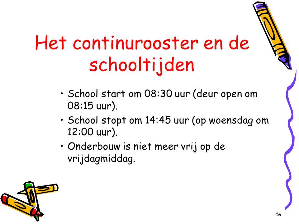 16 Het continurooster en de schooltijden School start om 08:30 uur (deur open om 08:15 uur). School stopt om 14:45 uur (op woensdag om 12:00 uur). Ond