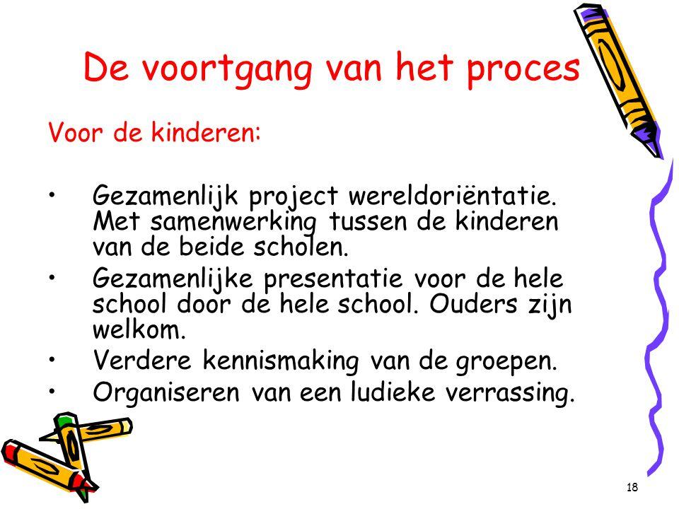 18 De voortgang van het proces Voor de kinderen: Gezamenlijk project wereldoriëntatie. Met samenwerking tussen de kinderen van de beide scholen. Gezam