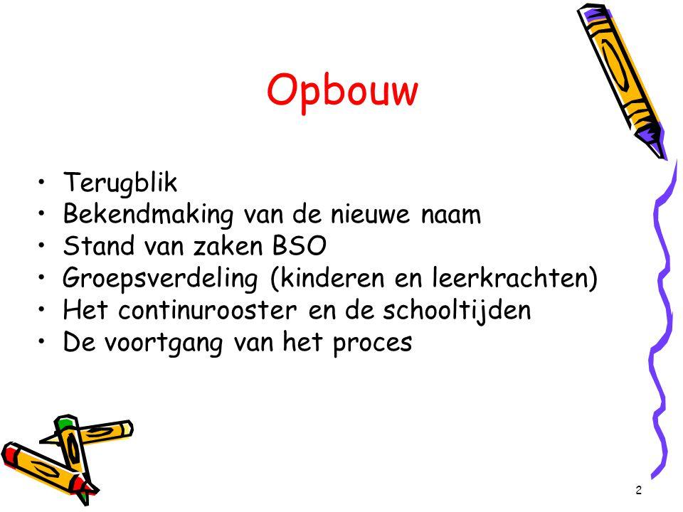 2 Opbouw Terugblik Bekendmaking van de nieuwe naam Stand van zaken BSO Groepsverdeling (kinderen en leerkrachten) Het continurooster en de schooltijde