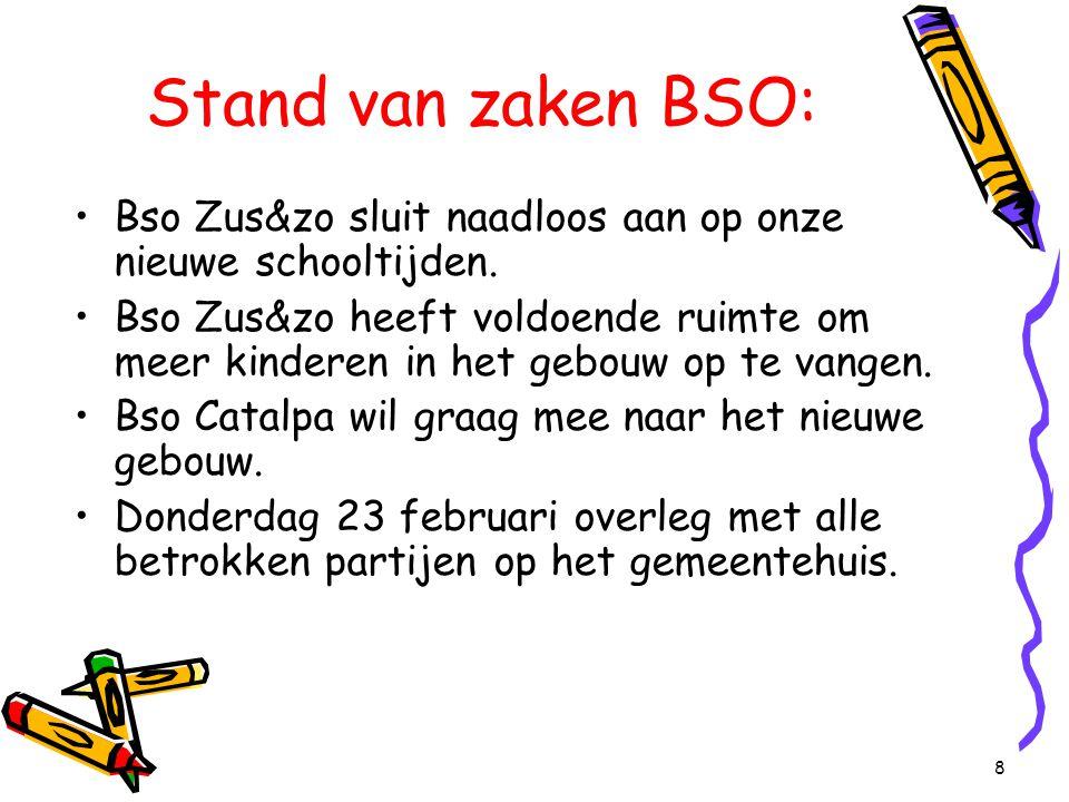 8 Stand van zaken BSO: Bso Zus&zo sluit naadloos aan op onze nieuwe schooltijden. Bso Zus&zo heeft voldoende ruimte om meer kinderen in het gebouw op