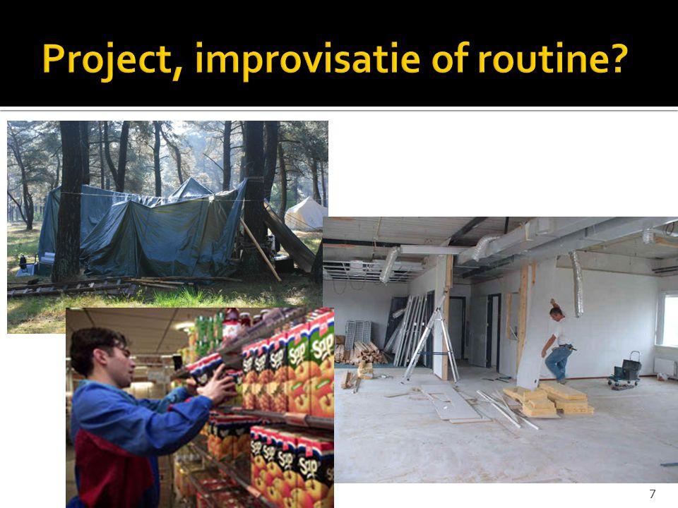 Improvisatie ProjectmatigRoutinematig Wanneer.Ad hov (plotseling) Te voorzienHerhalend Resultaat.