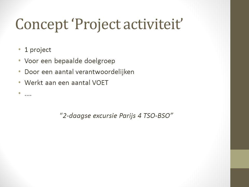 """Concept 'Project activiteit' 1 project Voor een bepaalde doelgroep Door een aantal verantwoordelijken Werkt aan een aantal VOET.... """"2-daagse excursie"""