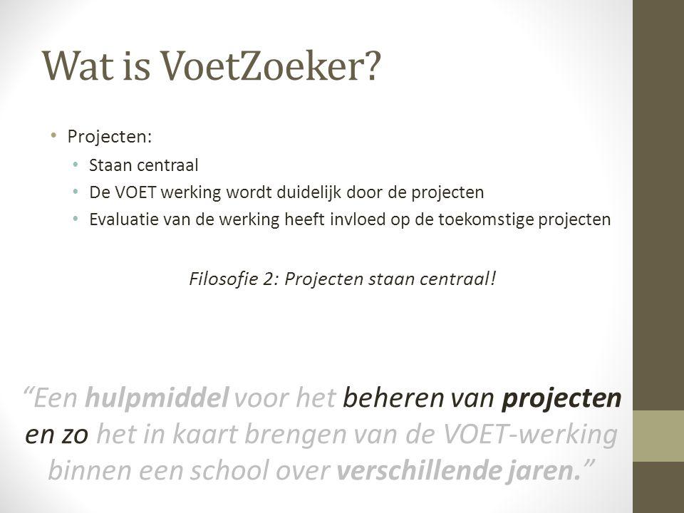 Wat is VoetZoeker? Projecten: Staan centraal De VOET werking wordt duidelijk door de projecten Evaluatie van de werking heeft invloed op de toekomstig