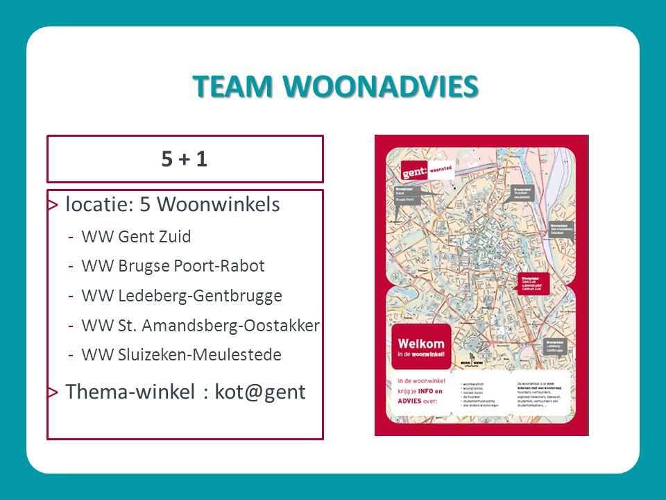 TEAM WOONADVIES ˃locatie: 5 Woonwinkels -WW Gent Zuid -WW Brugse Poort-Rabot -WW Ledeberg-Gentbrugge -WW St. Amandsberg-Oostakker -WW Sluizeken-Meules
