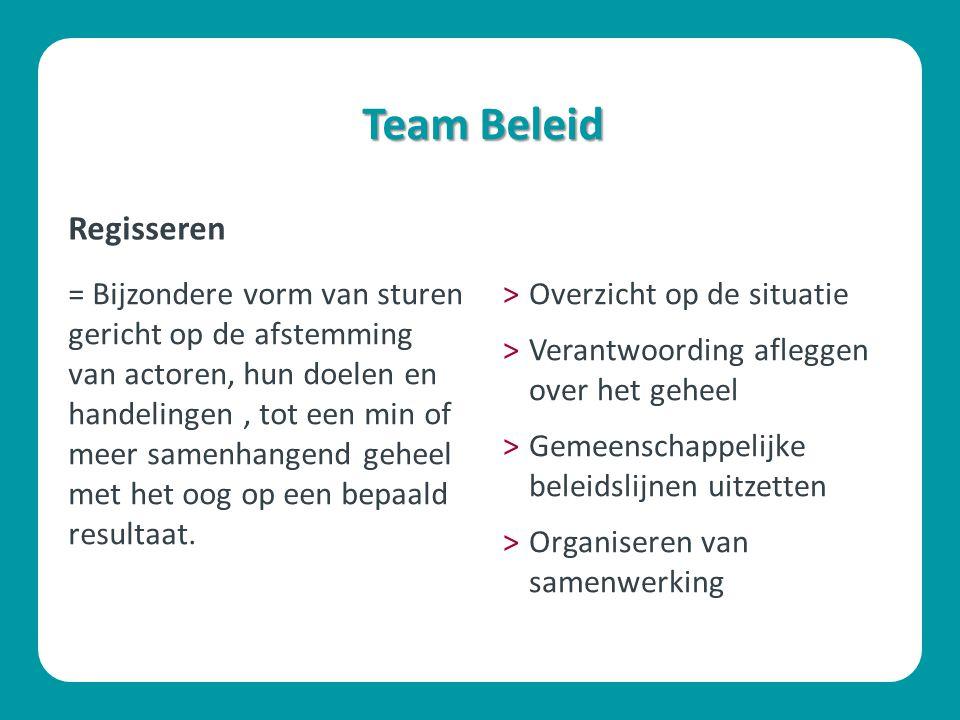 Team Beleid = Bijzondere vorm van sturen gericht op de afstemming van actoren, hun doelen en handelingen, tot een min of meer samenhangend geheel met