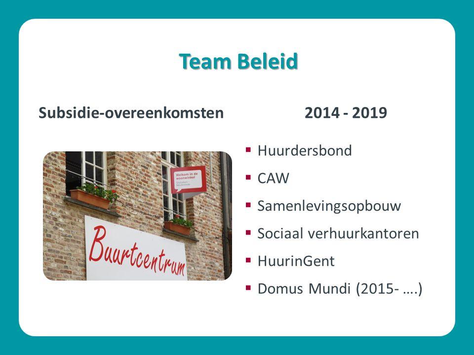 Team Beleid  Huurdersbond  CAW  Samenlevingsopbouw  Sociaal verhuurkantoren  HuurinGent  Domus Mundi (2015- ….) Subsidie-overeenkomsten2014 - 20