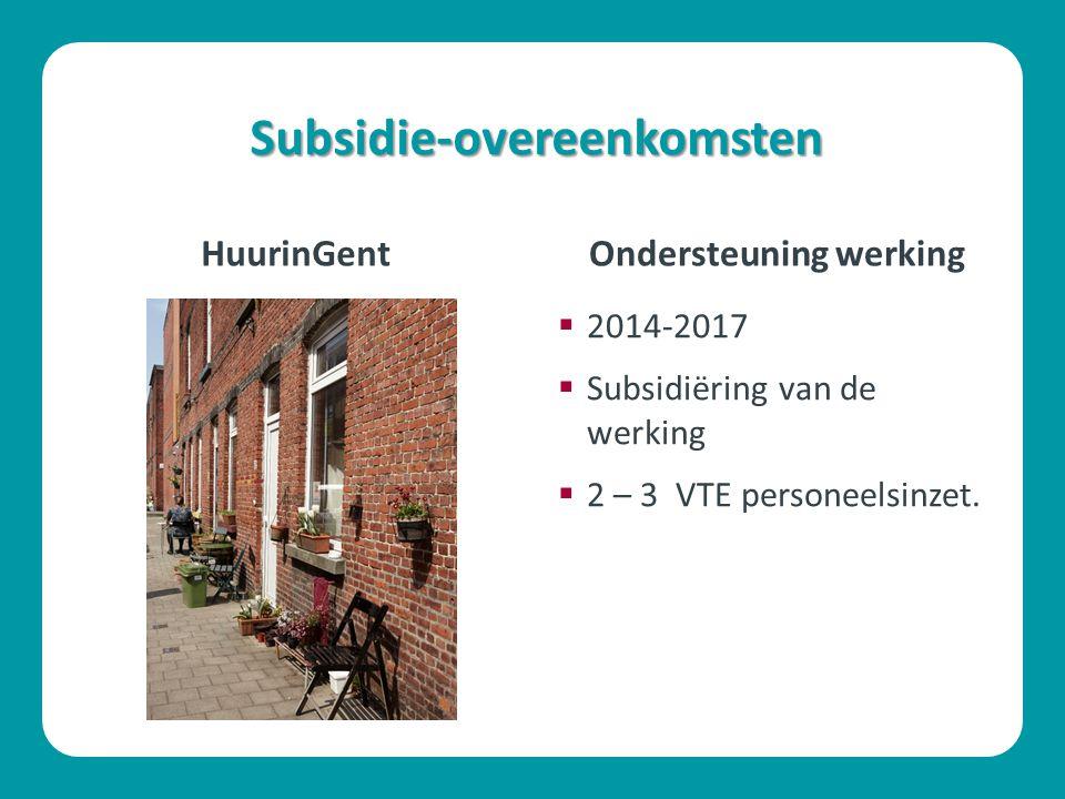 Subsidie-overeenkomsten HuurinGent  2014-2017  Subsidiëring van de werking  2 – 3 VTE personeelsinzet. Ondersteuning werking