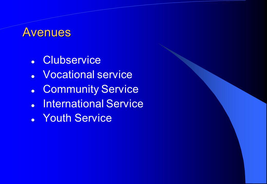 Avenues Clubservice Vocational service Community Service International Service Youth Service