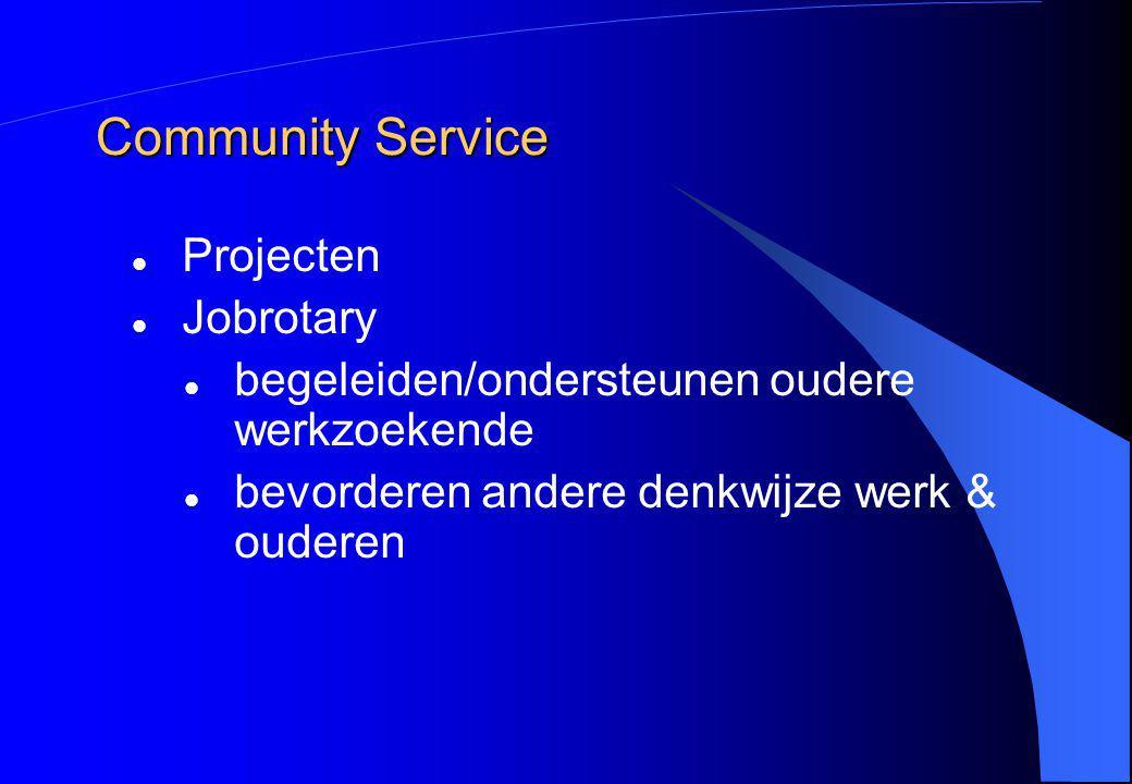 Community Service Projecten Jobrotary begeleiden/ondersteunen oudere werkzoekende bevorderen andere denkwijze werk & ouderen