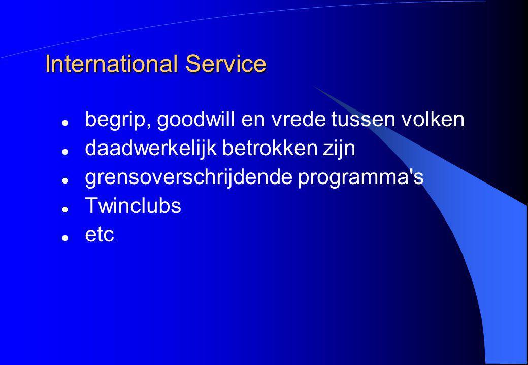 International Service begrip, goodwill en vrede tussen volken daadwerkelijk betrokken zijn grensoverschrijdende programma's Twinclubs etc.
