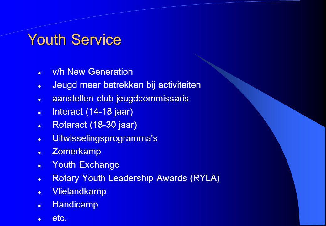 Youth Service v/h New Generation Jeugd meer betrekken bij activiteiten aanstellen club jeugdcommissaris Interact (14-18 jaar) Rotaract (18-30 jaar) Ui