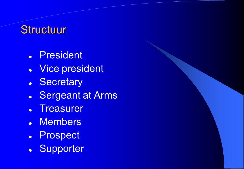 Structuur President Vice president Secretary Sergeant at Arms Treasurer Members Prospect Supporter