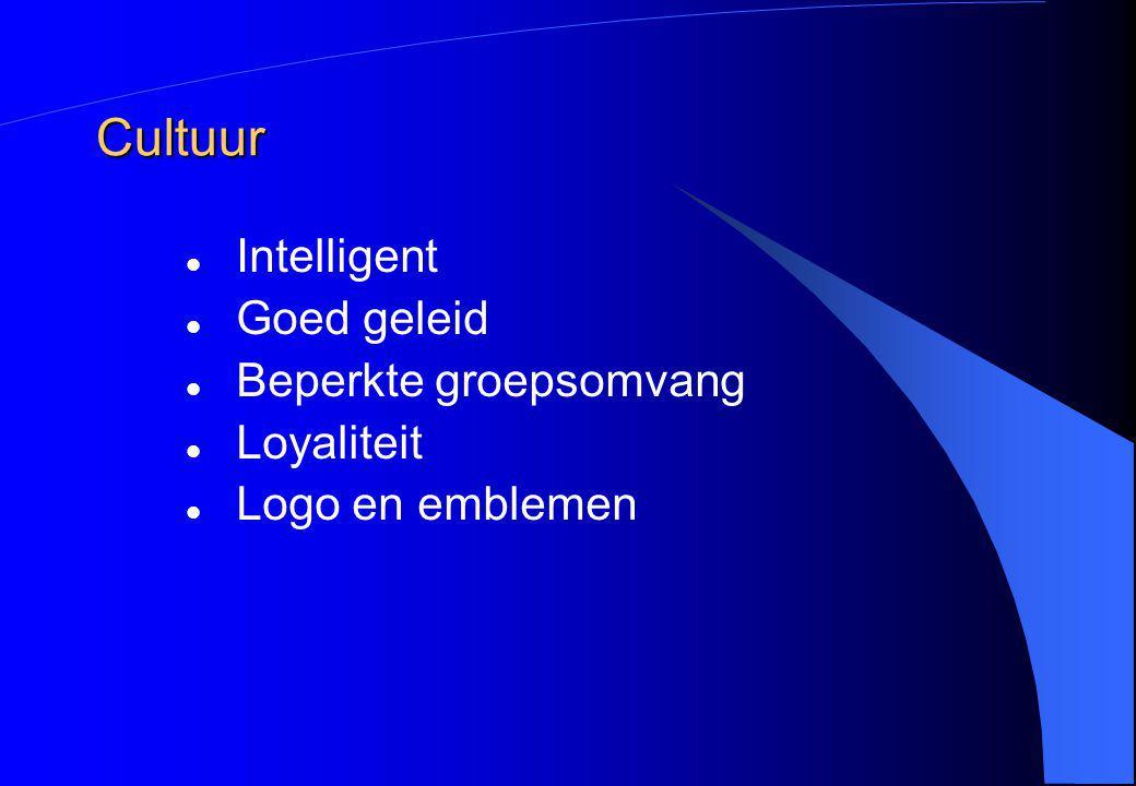Cultuur Intelligent Goed geleid Beperkte groepsomvang Loyaliteit Logo en emblemen