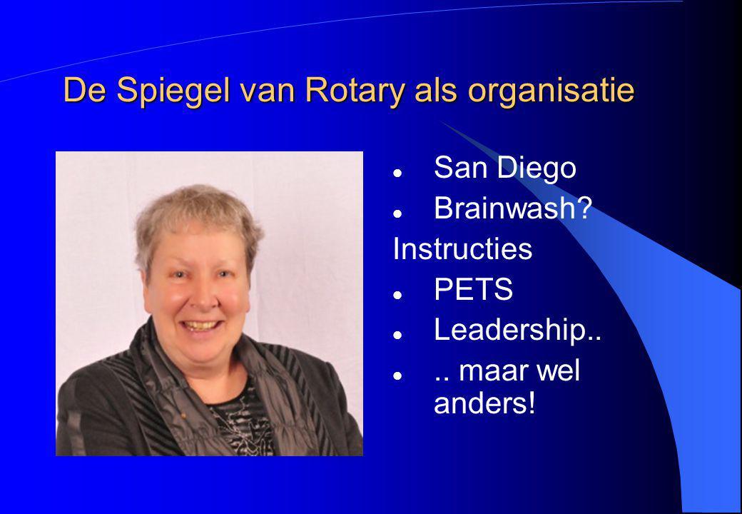 De Spiegel van Rotary als organisatie San Diego Brainwash? Instructies PETS Leadership.... maar wel anders!