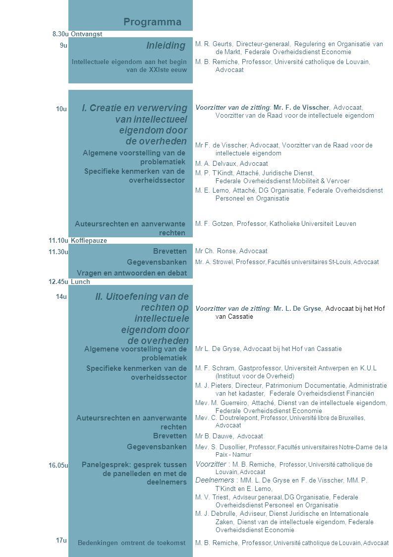 M. B. Remiche, Professor, Université catholique de Louvain, Advocaat Bedenkingen omtrent de toekomst Voorzitter : M. B. Remiche, Professor, Université