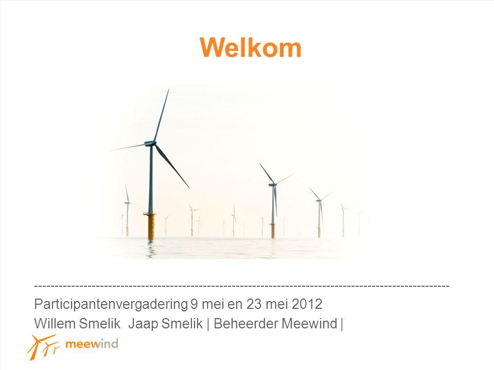 Welkom ----------------------------------------------------------------------------------------------------- Participantenvergadering 9 mei en 23 mei 2012 Willem Smelik Jaap Smelik | Beheerder Meewind |
