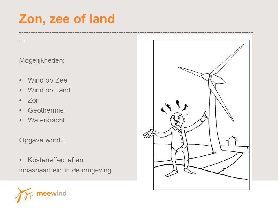 Zon, zee of land ----------------------------------------------------------------------------------------------------- -- Mogelijkheden: Wind op Zee Wind op Land Zon Geothermie Waterkracht Opgave wordt: Kosteneffectief en inpasbaarheid in de omgeving