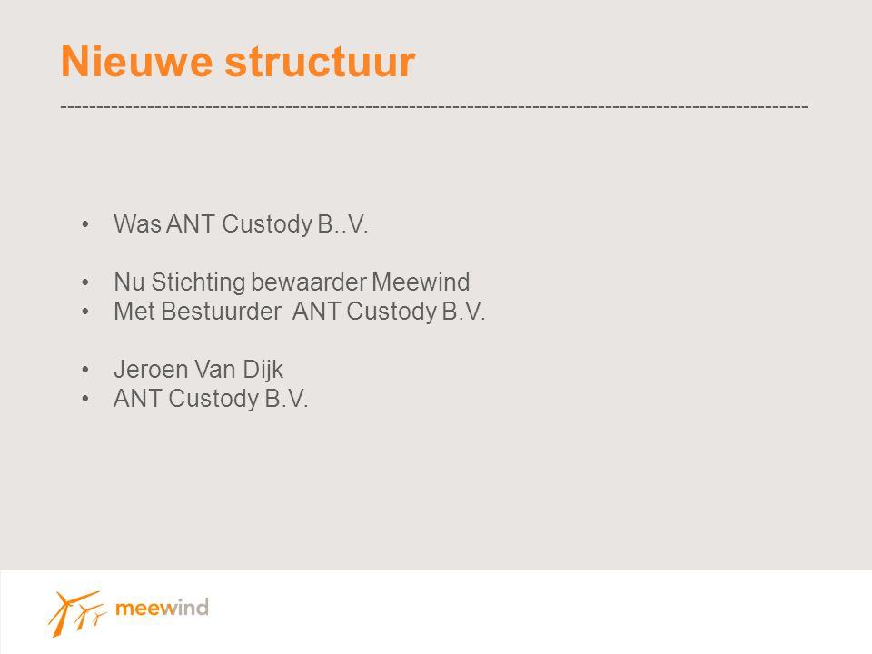 Nieuwe structuur ------------------------------------------------------------------------------------------------------- Was ANT Custody B..V.