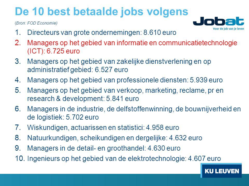 De 10 best betaalde jobs volgens (Bron: FOD Economie) 1. Directeurs van grote ondernemingen: 8.610 euro 2. Managers op het gebied van informatie en co