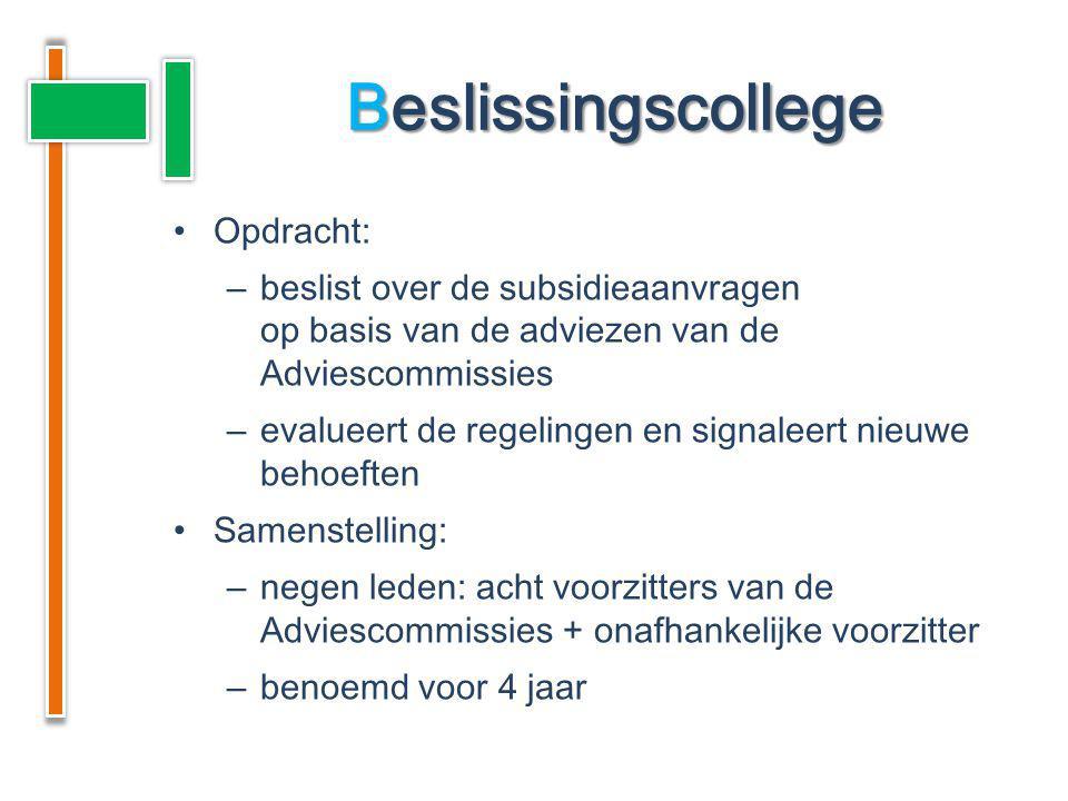 Opdracht: –beslist over de subsidieaanvragen op basis van de adviezen van de Adviescommissies –evalueert de regelingen en signaleert nieuwe behoeften