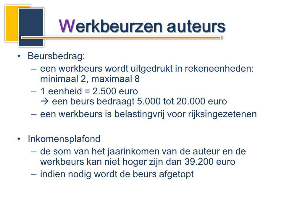 Beursbedrag: –een werkbeurs wordt uitgedrukt in rekeneenheden: minimaal 2, maximaal 8 –1 eenheid = 2.500 euro  een beurs bedraagt 5.000 tot 20.000 eu
