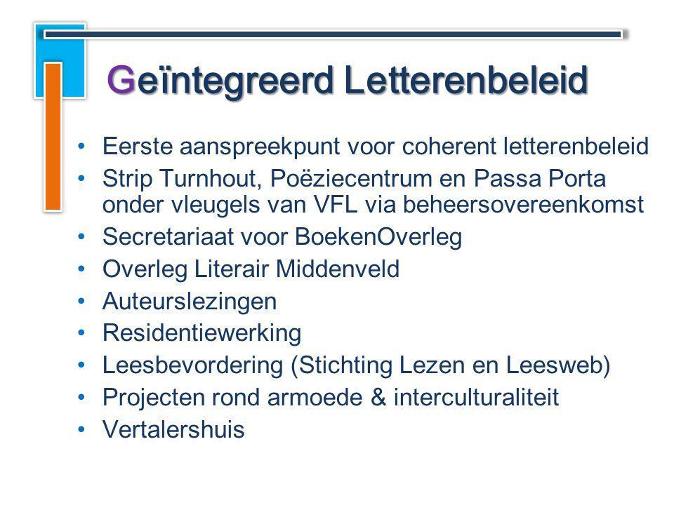 Eerste aanspreekpunt voor coherent letterenbeleid Strip Turnhout, Poëziecentrum en Passa Porta onder vleugels van VFL via beheersovereenkomst Secretar