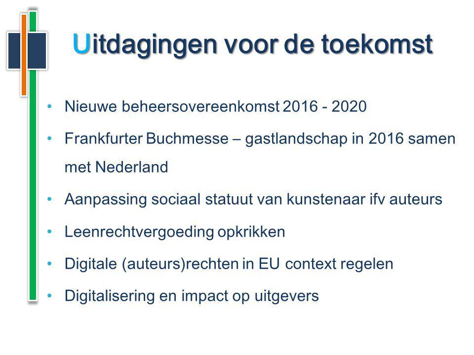Nieuwe beheersovereenkomst 2016 - 2020 Frankfurter Buchmesse – gastlandschap in 2016 samen met Nederland Aanpassing sociaal statuut van kunstenaar ifv