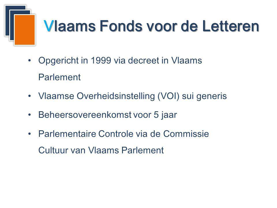 Vlaams Fonds voor de Letteren Opgericht in 1999 via decreet in Vlaams Parlement Vlaamse Overheidsinstelling (VOI) sui generis Beheersovereenkomst voor