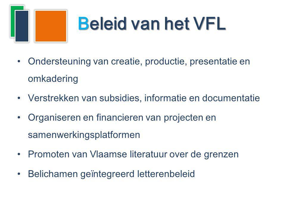 Ondersteuning van creatie, productie, presentatie en omkadering Verstrekken van subsidies, informatie en documentatie Organiseren en financieren van p